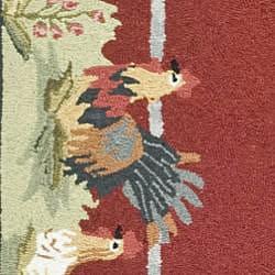 Hand-hooked Roosters Burgundy Wool Rug (7'9 x 9'9)