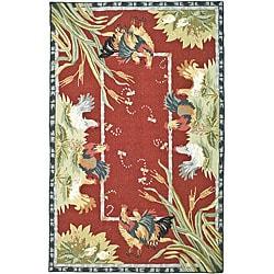 Hand-hooked Roosters Burgundy Wool Rug (8'9 x 11'9)