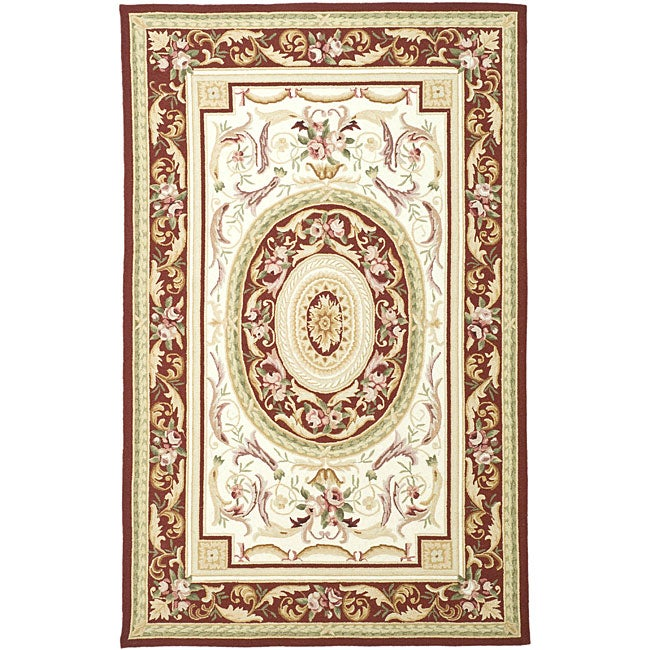 Safavieh Hand-hooked Aubusson Ivory/ Burgundy Wool Rug (7'9 x 9'9)
