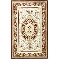 Hand-hooked Aubusson Ivory/ Burgundy Wool Rug (7'9 x 9'9)