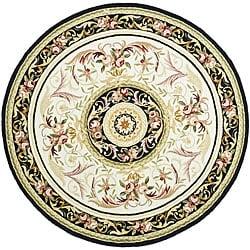 Safavieh Hand-hooked Aubusson Ivory/ Black Wool Rug (5'6 Round)