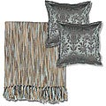 Blue/ Beige Throw Blanket and Decorative Pillows
