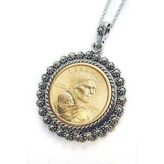 American Coin Treasures Sacagawea Dollar Silvertone Necklace