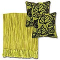 Citrus/ Ivory Throw Blanket and Leaf Decorative Pillows