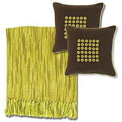 Citrus/Ivory Acrylic Throw Blanket and Decorative Pillows
