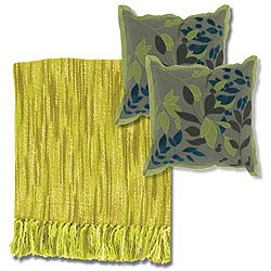 Citrus/Ivory Throw Blanket and Polyester Decorative Pillows
