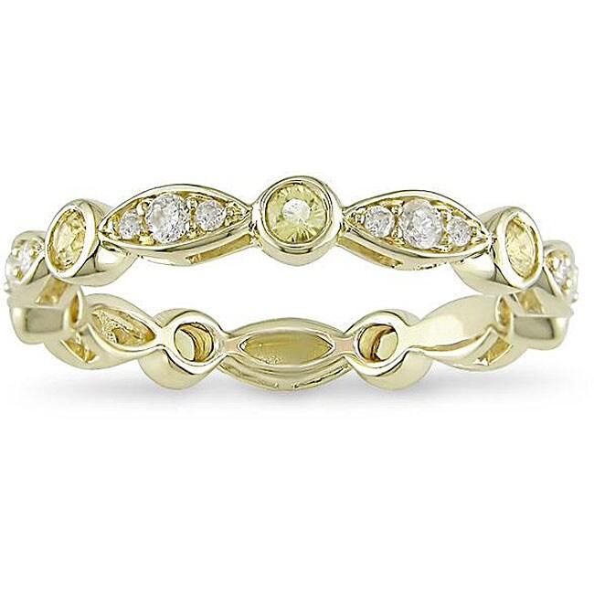 Miadora 10k Gold Yellow Sapphire and 1/4ct TDW Diamond Ring (H-I, I2-I3)