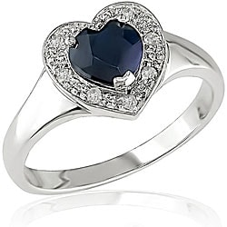 Miadora 10k Gold Black Sapphire 1/10ct TDW Diamond Heart Ring