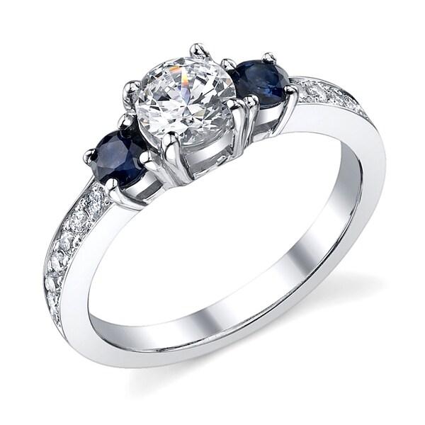 14k Gold 7/8ct TDW Diamond and Sapphire Ring (I, I1)