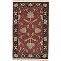 Hand-woven Burgundy Southwestern Aztec New Zealand Wool Rug (8' x 11')