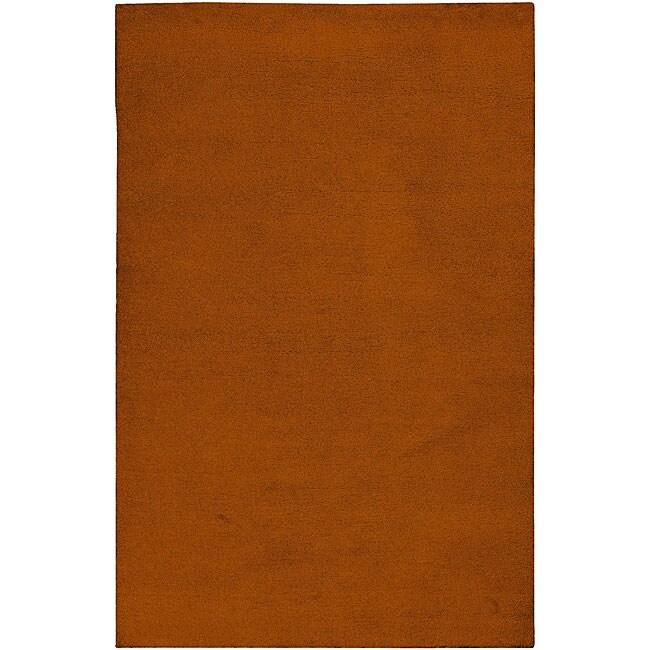 Hand-knotted Long Island Orange Plush Wool Rug (5' x 8')