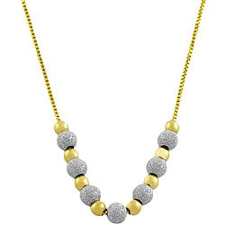 Fremada 14k Two-tone Gold Sparkle Bead Necklace