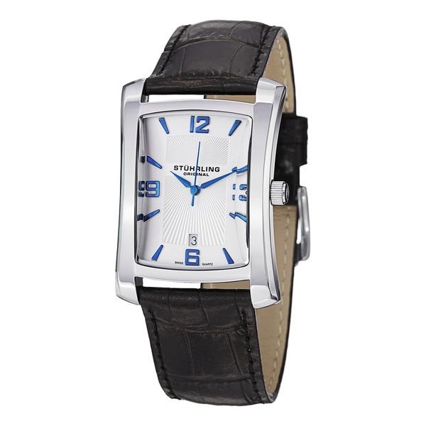 Stuhrling Original Men's Gatsby Classic Black-Strap Swiss Quartz Watch