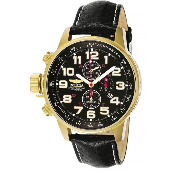 Invicta Men's 3330 Lefty Chronograph Leather Goldplated Watch