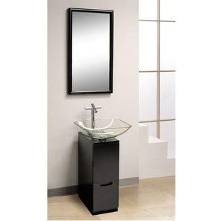 Dreamline Modern Glass 10 Inch Slim Line Black Vanity Set