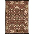 Hand-woven Orange/Brown Southwestern Aztec Laredo Wool Rug (8' x 11')