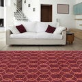 Hand-knotted Red Rust Contemporary Karur Wool Geometric Rug (5' x 8')