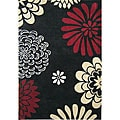 Hand-tufted Giant Flowers Black Wool Rug (5' x 8')