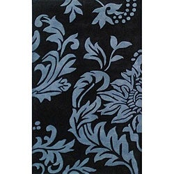Hand-tufted Quill Feathers Black/ Charcoal Wool Rug (5' x 8')