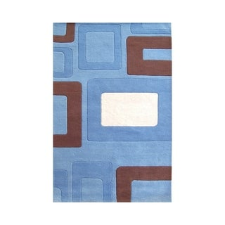 Alliyah Handmade Multi Boxes Blue New Zealand Blend Wool Rug (8' x 10')