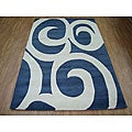 Hand-tufted Blue Modern Wool Rug (8' x 10')