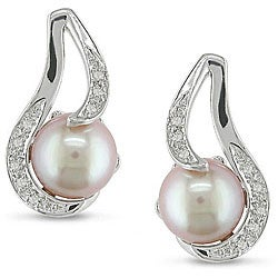 Miadora Sterling Silver Pink Freshwater Pearl and Diamond Earrings (9-10 mm)