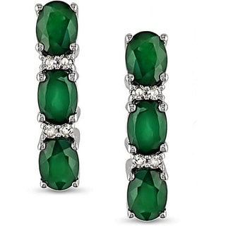 Miadora 10k White Gold Created Emerald and Diamond Earrings