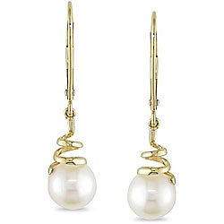 Miadora 10k Yellow Gold Cultured Freshwater Pearl Earrings (6.5-7 mm)