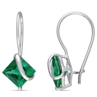 Miadora 10k White Gold Created Emerald Earrings with Bonus Earrings