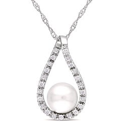 Miadora 14k Gold Pearl and 1/10ct TDW Diamond Necklace (6-7 mm) (H-I, I2-I3)