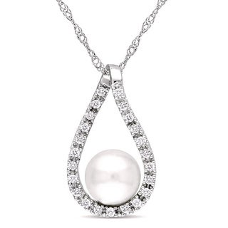 Miadora 14k Gold Cultured Freshwater Pearl and 1/10ct TDW Diamond Necklace (6-7 mm) (H-I, I2-I3)