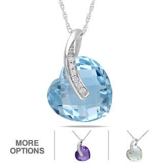Miadora 10k White Gold Gemstone and Diamond Heart Necklace