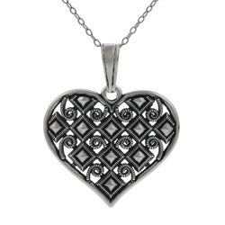 Tressa Sterling Silver Vintage-style Heart Necklace