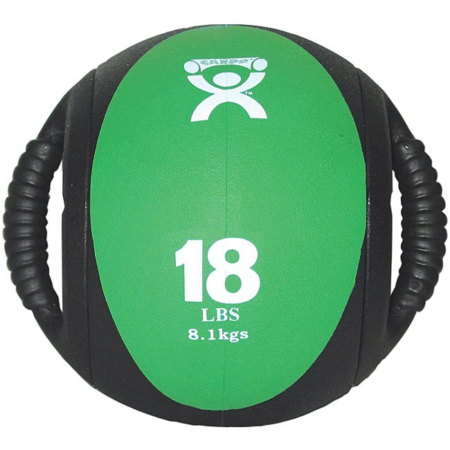 Cando 18-pound Dual-handle Green Medicine Ball