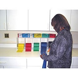 Cando Horizontal 5-bin Exercise Band Rack and No-latex Roll Set