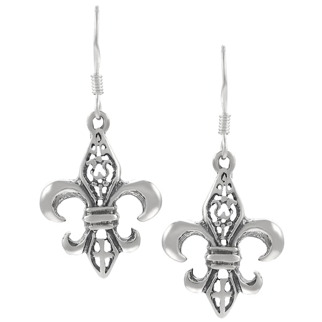 Journee Collection Sterling Silver Fleur de Lis Dangle Earrings