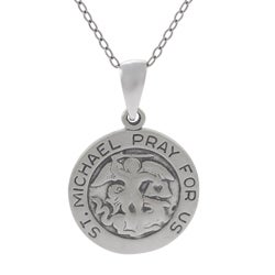 Tressa Sterling Silver 'St. Michael Pray For Us' Necklace