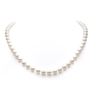 DaVonna 14k Gold White Akoya Pearl High Luster 16-inch Necklace (7.5-8 mm)