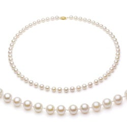 DaVonna 14k Gold White Akoya Pearl High Luster 16-inch Necklace (6.5-7 mm)