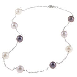 DaVonna Silver Chain and Multicolored FW Pearl Necklace (9-10 mm)