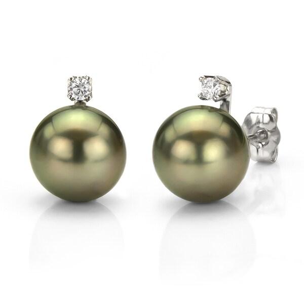 DaVonna 14k White Gold Tahitian Pearl and Diamond Earrings (8-9 mm)