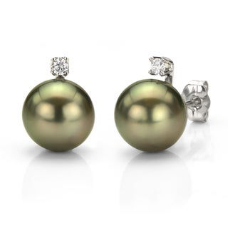 DaVonna 14k White Gold Tahitian Pearl and Diamond Earrings (8-9 mm)