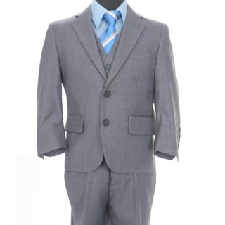 Ferrecci Boys' Solid Grey Two-button Three-piece Suit