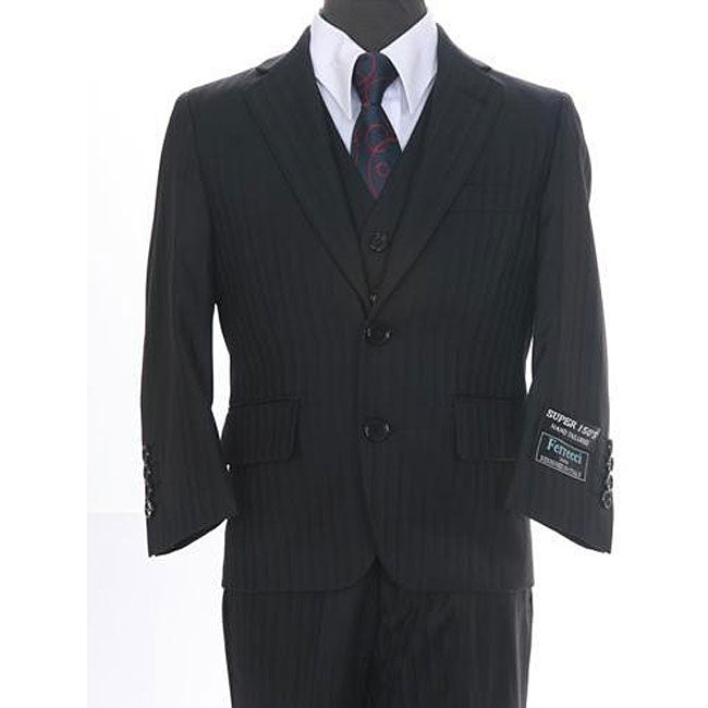 Ferrecci Boy's Shadow Stripe Black 3-piece Suit