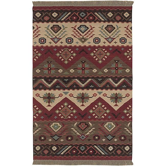 Hand Woven Red Tan Southwestern Aztec Santa Fe Wool