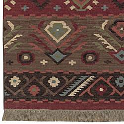 Hand-woven Red/Tan Southwestern Aztec Santa Fe Wool Flatweave Rug (3'6 x 5'6)