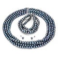 DaVonna Silver Grey FW Pearl 4-row Necklace Bracelet and Earring Set (6-7 mm)
