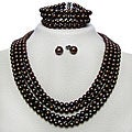 DaVonna Silver FW Pearl 4-row Necklace Bracelet and Earring Set (6-7 mm)