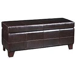 Chocolate Synthetic Leather Storage Bench