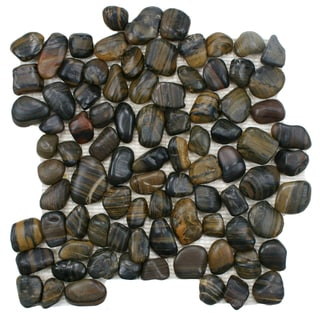SomerTile 12x12-in Riverbed Tiger Eye Natural Stone Mosaic Tile (Pack of 10)